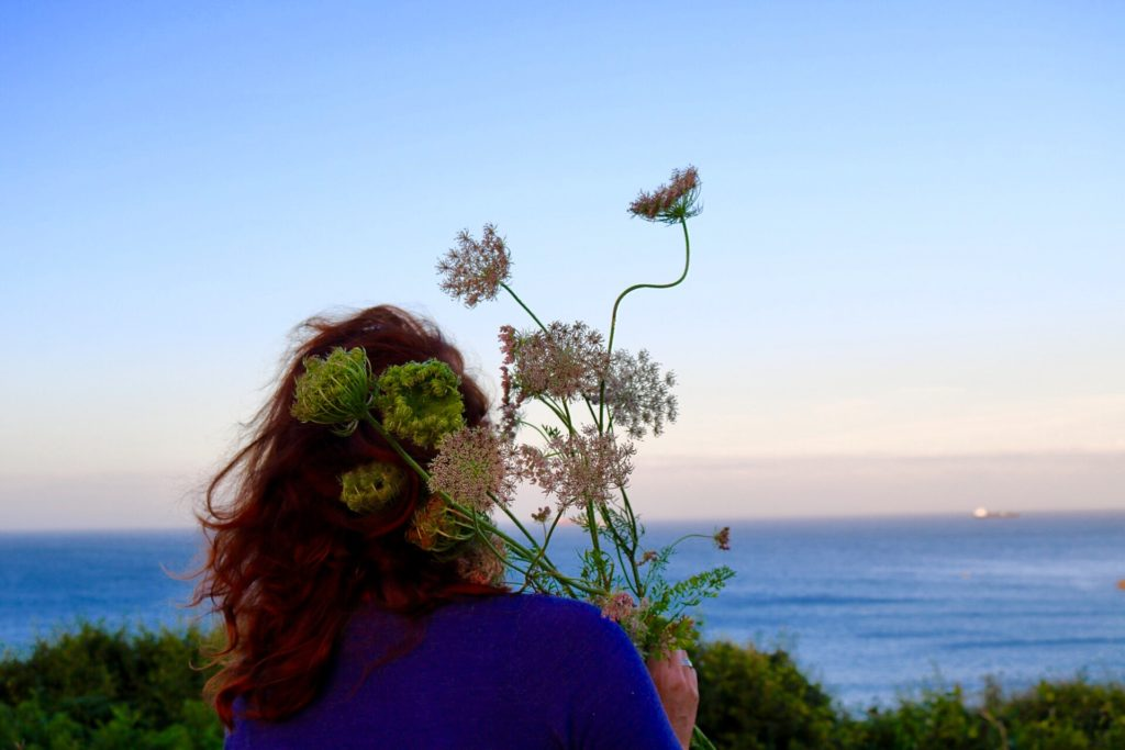 Amy Gilbert hand picks all of her flowers at her lot in Devon.